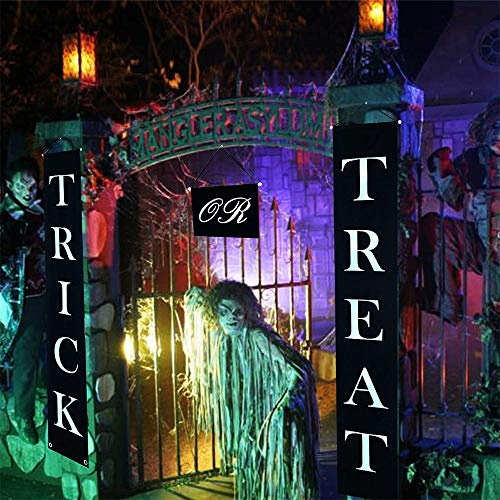 1Set Trick Or Treat Banner Polyester Trick or Treat Halloween Banner Fit Halloween Outdoor Office Home Hanging Signs Ready to Welcome Kids Halloween Trick Or Treat Decorations -