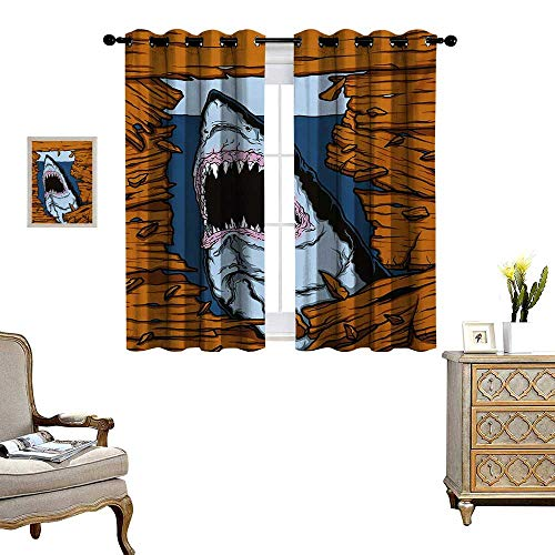 Shark Patterned Drape for Glass Door Wild Fish Breaking Wooden Plank Danger Sign Killer Creature Fun Illustration Waterproof Window Curtain W63 x L63 Ginger Dark Blue ()