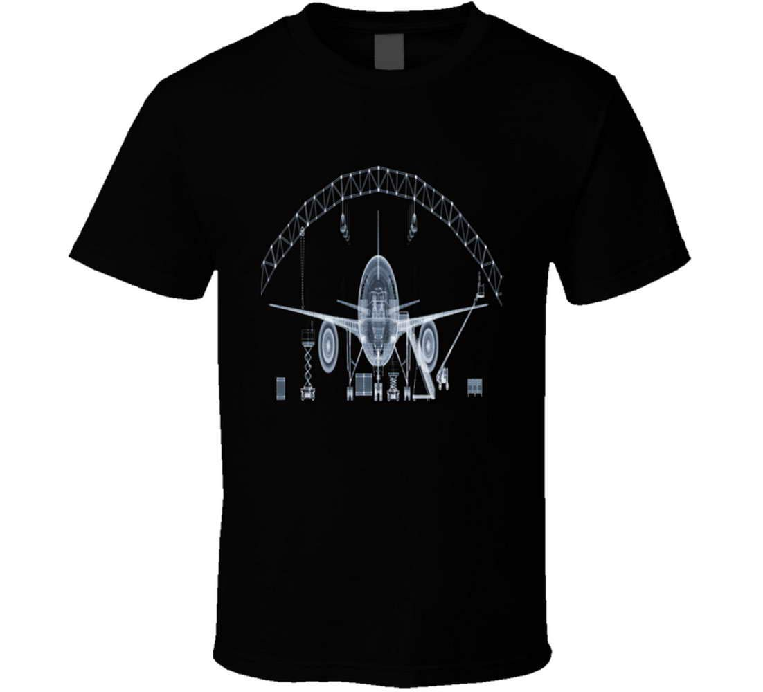 747 Jet In Hanger Xray Aviation Inspired Mechanic Tshirt