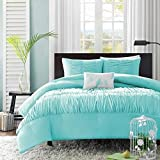 4 Piece King Size Light Turquoise Blue Embroidered Ruffles Wrinkle Ruched Comforter Set Bedding Vogue Bedspread College Teenager Room Dorm Adult Bedset Vibrant Fashion Pretty Smart Home Marine Aqua