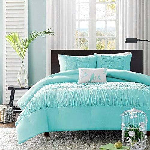 4 Piece Full Queen Light Turquoise Blue Embroidered Wrinkle Pleated Ruffle Ruched Comforter Set Bedding Vogue Fashion Bedspread College Teenager Room Dorm Adult Bedset Pretty Smart Home Marine Aqua by PHOS