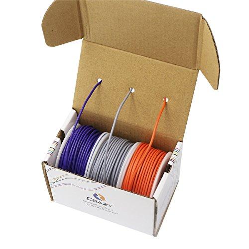 CBAZYTM Hook up Wire (Stranded Wire) 16 Gauge 1007 16AWG 13M (42 Feet) PVC Electrical Wire Grey+Purple+Orange ()