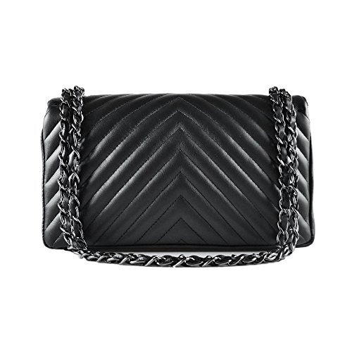 clutch soft leather chevron leather smooth Nickel SINDY cross body quilted Black chain quilted Italian metal Dark Medium purse and shoulder Cxw4qPRX