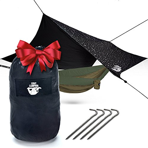 Hammock Rain Fly Camping Tarp by Legit Camping - Extra Large Hammock Tarp Fits Double Hammocks - Adventure in Any Weather - Great for Backpacking, Traveling, Hiking - XL 10' - Xl Go Easy