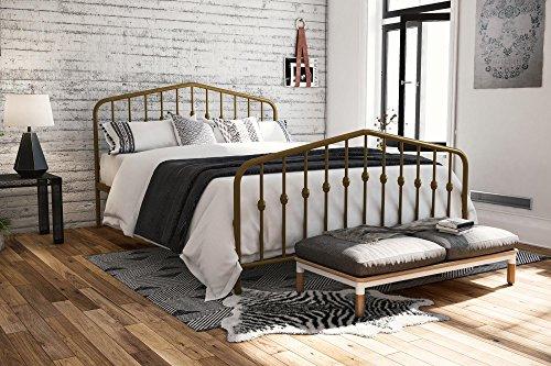 (Novogratz 4176239N Bushwick Metal Bed, Queen, Gold)