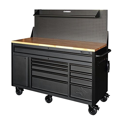 Husky 60.125 in. 10-Drawer and 1-Door 24 in. D Textured Black Matte Mobile Workbench, Sliding Pegboard and Shelf