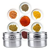 Pack of Six Magnetic Stainless Steel Solid Spice Jars with Stick Rack Board Fridge Door Wall Mount Storage Tins Kitchen Pantry Utensil