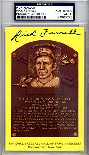Rick Ferrell Authentic Autographed Signed HOF Plaque Postcard #83963776 PSA/DNA Certified MLB Cut Signatures