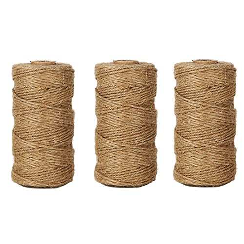 TIAMALL 300 Feet Natural Jute Twine Gift Twine String Packing String (3 Pcs) by TIAMALL