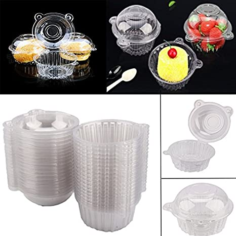 Disposable Plastic Clear Cupcake Case Single Individual Muffin Pods Dome Cups Carrier Containers Cake Boxes Holders 100//200//400//800pcs