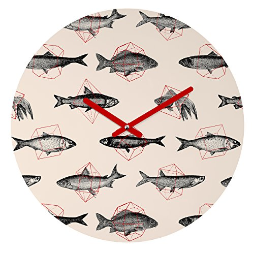 Deny Designs Florent Bodart, Fishes In Geometrics , Round Clock, Round, 12