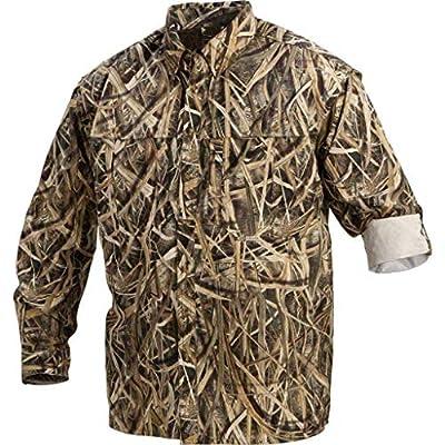 Drake Long Sleeve Shadow Grass Blades Camo Vented Wingshooter Shirt