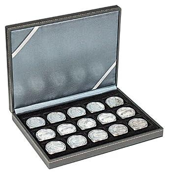 Lindner 2363-15 Estuche monedas NERA XM com 15 compartimentos cuadrados para monedas o cápsulas con un diámetro de hasta 40 mm