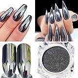 polish Oksale® Women DIY Mirror Powder Effect Chrome Nails Pigment Gel Polish (Silver B)