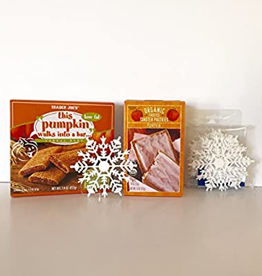 Trader Joe's Pumpkin Breakfast Bundle: Organic Frosted Toaster Pumpkin Pastries & This Pumpkin Walks Into a Bar Cereal Bar Plus a Free Set of 5 White Glitter Snowflake Ornaments (2+ Items)