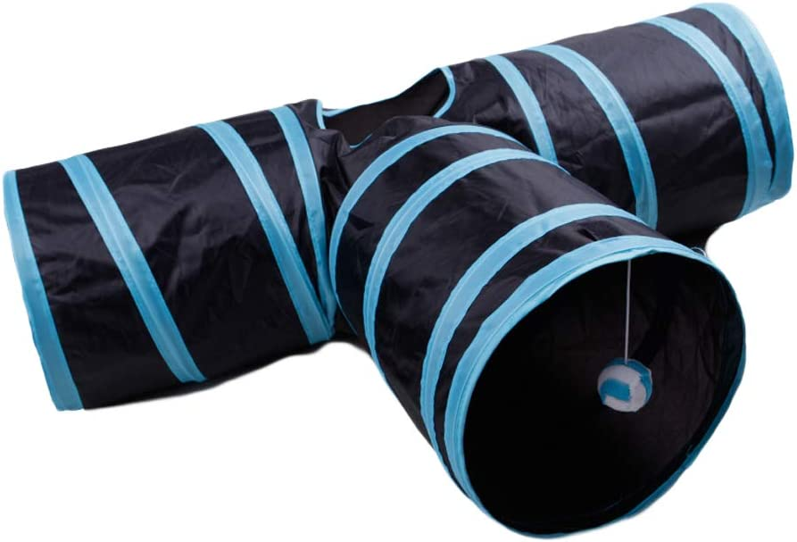 Guinea Pig Indoor//Outdoor Use Rabbits Foldable 3 Way Pet Play Tunnel Tube Storage Bag /& Cat Toys Feather Wand Large Cats Dogs qianzhi Cat Tunnel Toy