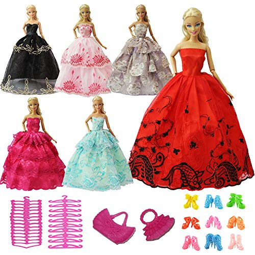 ZITA ELEMENT Lot 15 Pcs Party Dress Clothes Outfits and Accessories for 11.5 Inch Girl Doll - 5 Dresses, 5 Shoes, 3 Hangers and 2 -