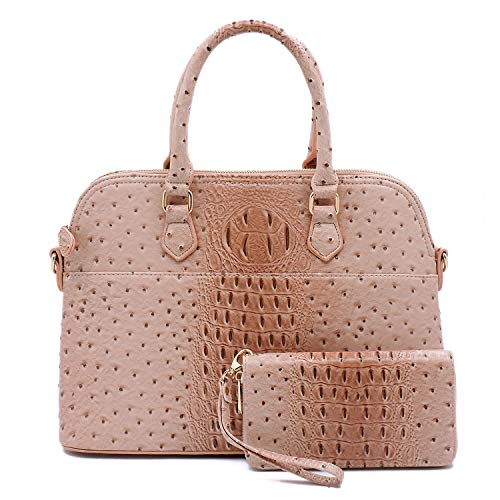 Vegan Faux Leather Ostrich Croco 2-in-1 Dome Shape Satchel Purse with Matching Wallet (Rose Pink)
