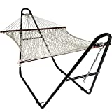 Sunnydaze Cotton Double Wide 2-Person Rope Hammock with Spreader Bars and Multi-Use Steel Stand, 440 Pound Capacity