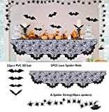 "Halloween Decoration Lace Spider Bats Mantel Scarf, Cobweb Fireplace Mantle Fabric Cover for Halloween Christmas Door Window Curtain Prop Party Decor, 80"" X 20"" Black Kitchen Decoration Table Runner"