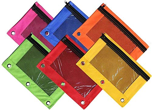 (TSVP Bright Color 3-Ring Pencil Pouch with Sturdy Zipper, w/Mesh Window Fit Standard 3-Ring Binder (2 Pack) Colors May Vary.)