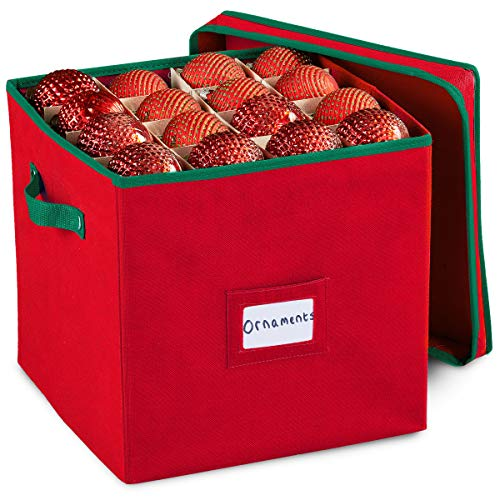 Christmas Ornament Storage Box with Removable lid, Stores up-to 64  Holiday Ornaments
