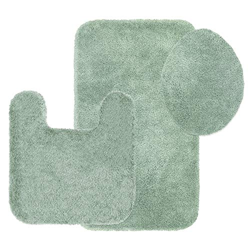 Juniper Rug Rug - Maples Rugs Bathroom Rugs Colorsoft 3pc Non Slip Washable Bath Mats & Toilet Lid Cover Set [Made in USA] Soft & Quick Dry Green Juniper
