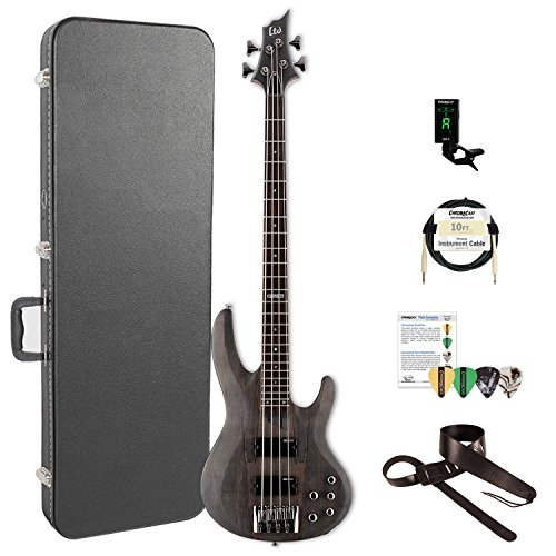 ESP LB204SMSTBLKS-KIT-2 B Series B-204SM 4-String Electric Bass Guitar, See Thru Black Satin by ESP