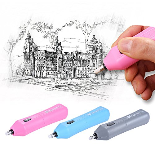 Electric Pencil Eraser with 10 Eraser Refills Battery Operated Auto Pencil Eraser for Drawing Painting Sketching Drafting Architectural Plans Arts and Crafts (Sky Blue) by Buolo (Image #7)