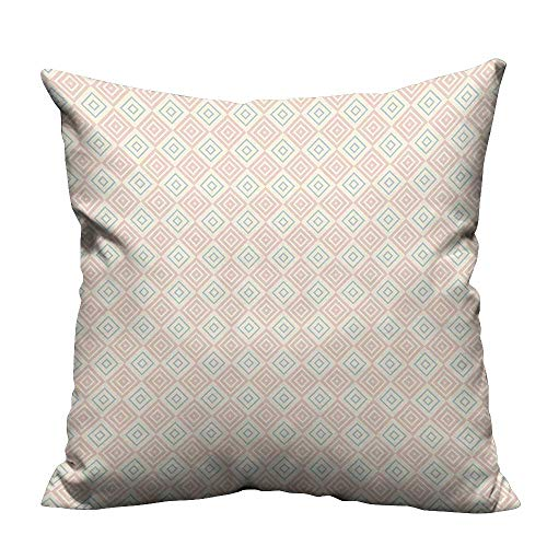 (YouXianHome Pillowcase with Zipper Vintage Style Nested Diamond Line Tile Pattern Shabby Chic Ornament Peach Coral Light Ultra Soft & Hypoallergenic (Double-Sided Printing) 27.5x27.5 inch)