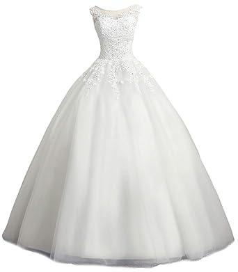 32dc2c31d754 LMBRIDAL Women's Scoop Neck Ball Gown Wedding Dress Lace Bridal Gown Ivory 2