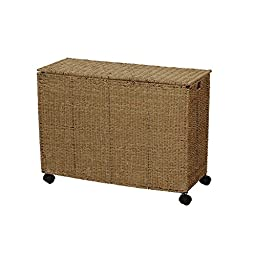Household Essentials ML-6445 Seagrass Wicker Triple Laundry Sorter on Wheels with Removable Bags - Brown