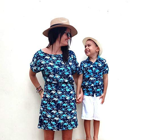 Mutter und Sohn Set, Mutter Sohn Partnerlook, Mama Sohn Outfit, Mutter Sohn Outfit, Muttertag Geschenk, Flamingo Kleid, Flami