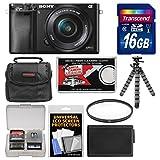 Sony Alpha A6000 Wi-Fi Digital Camera & 16-50mm Lens with 16GB Card + Case + Battery + Tripod + Filter Kit
