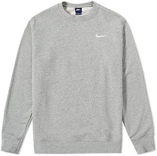 Nike Club Ft Crew–Felpa Uomo, Uomo, Club Ft Crew, Gris (Dk Grey Heather/Blanco), XL 637902-063