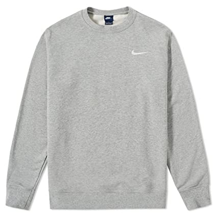 Nike Club Ft Crew Sudadera, Hombre, Gris (Dk Grey Heather/Blanco)