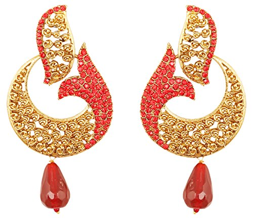 Red And Gold Tone Earrings - 2