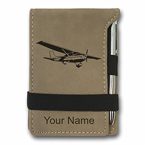 Mini Notepad, Cessna Airplane, Personalized Engraving Included (Light Brown) ()