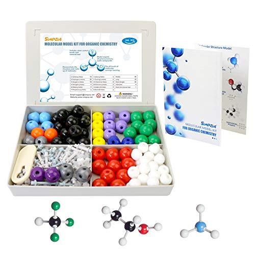 SIMPZIA 240 Pcs Organic Chemistry Model Kit  Molecular Model kit, Chemistry Organic and Inorganic Modeling Students Set with Manual & Atoms, Bonds for Students, Teachers & Scientists