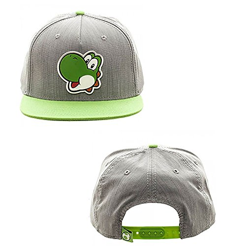 Nintendo Super Mario Bros   Yoshi Rubber Logo Snapback Hat  Gray Green  One Size