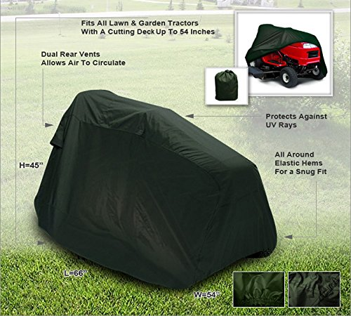 """CarsCover Lawn Mower Garden Tractor Cover Fits Decks up to 54"""" - Olive Green"""