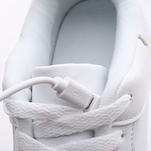 Ryanmay Niños Niñas Y Niños Brillante Noche Led Zapatos Iluminados Zapatillas De Carga Usb Para Niños 02white