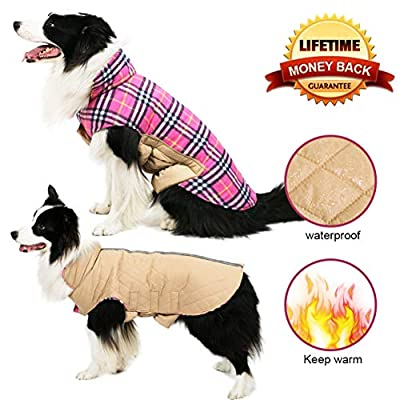 TPYQdirect Dog Jacket, Waterproof Windproof Reversible British Style Plaid Dog Vest Winter Coat Warm Dog Apparel Cold Weather Dog Jacket Small Medium Large Dogs by TPYQdirect