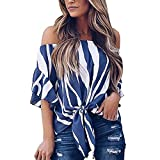 Women's Striped Tops 3/4 Bell Sleeve Casual Blouses Tops Off Shoulder Front Tie Knot T Shirt Tops Blouse