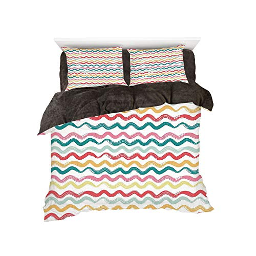 - All Season Flannel Bedding Duvet Covers Sets for Girl Boy Kids 4-Piece Full for bed width 4ft Pattern by,Striped Decor,Pop Art Parallel Wavy Rough Lines Flush Brush Strokes Shaggy Groovy Boho Decor,Mu
