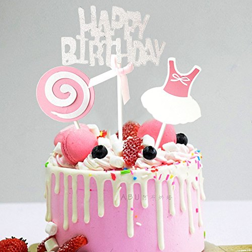 Happy Birthday Cupcake Topper Cake Topper Girl Kids Sticks Kit Decoration Pink Amazon In Grocery Gourmet Foods