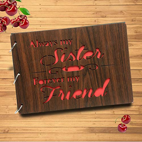 [해외]Sehaz Artworks Always-My-Sister-A4 Wooden Scrapbook Photo Album for Memorable Gift on Brother Sister Cousins Bro Sis Birthdays Valentines Day Anniversary / Sehaz Artworks Always-My-Sister-A4 Wooden Scrapbook Photo Album for Memorab...