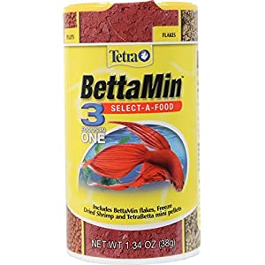 Tetra BettaMin Select-A-Food 1.34 Ounces, Fish Flakes, Variety Pack 66