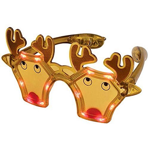 12 Pairs LED Light Up Flashing Christmas Reindeer Party Glasses