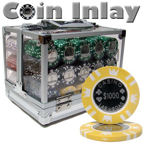 600 Ct Coin Inlay Poker Chip Set w/ Acrylic Case 15 Gram Chips by - Chip Coin Inlay
